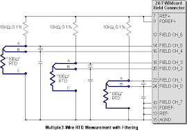 rtd amplifier circuit, measuring rtds, connecting rtd to analog to 4 Wire Rtd To 3 Wire Input circuit for robust multiple 3 wire rtd temperature measurement with filtering each rtd uses 4 wire rtd wiring to 3 wire input