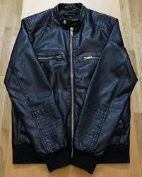 river island leather look jacket medium black