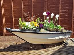 garden boat planter cream and black wooden approx 5 long