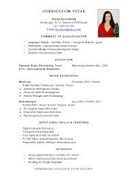 Sample Of Simple Resume Resume For Your Job Application