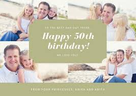 Light Green Photo Collage 50th Birthday Card Templates By Canva