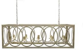 thiago rectangular rustic silver leaf 10 light chandelier