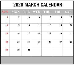 Month Of March Calendar 2020 Free 2020 March Calendar Printable Editable Template Blank