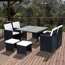 white metal outdoor furniture. Outsunny 9pc Rattan Dining Set Garden Furniture Wicker Patio Table Chairs Weave White Metal Outdoor N