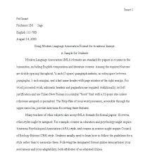 Mla Heading Essay Mla Format Sample Essay Example Of Format Essay Sample Format Essay