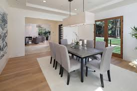 chair elegant clarissa rectangular chandelier 24 modern minimalistic dining room with soft gray chairs black table