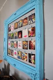 painted blue wooden collage picture frames for wall decoration ideas
