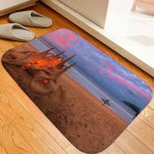 skidproof flannel bathroom rug with nightfall surfing print sand yellow thin w16inch l24inch