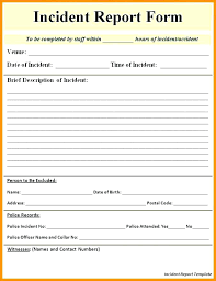 Incident Report Sample Format New Construction Incident Report Template Employee Injury Report Form
