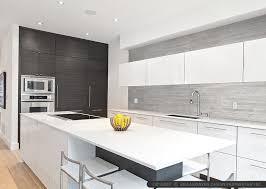 Modern Gray Long Kitchen Backsplash Tile White Cabinet Countertop