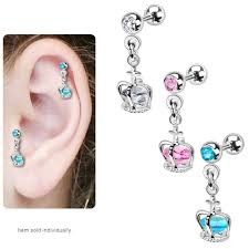 Dream Catcher Helix Earring Dangle Crown Cage with Loose Gem Cartilage and Tragus Barbell Earring 98