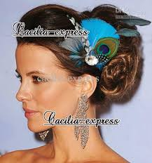 turquoise peacock feather headband feather bridal hair piece Wedding Hair Pieces With Feathers turquoise peacock feather headband feather bridal hair piece women's fashion hair accessory hair extension feathers hair feathers extensions from cacilia Flower and Feather Hair Pieces