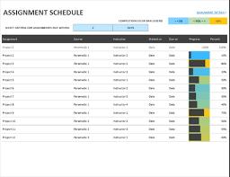Homework Calendar Excel Assignment Schedule