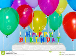 Happy Birthday Candles Cake With Balloons Stock Image
