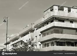 Modern Apartment Building Exterior Black And White Stock Photo