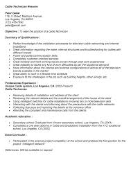Cable Installer Resume Sample Cable Technician Resume Cable