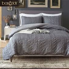 bonenjoy american style quilt cover sets fold plaid solid color bedding dark grey bedclothes queen size bed linen duvet cover king bedding green bedding