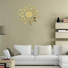 TIFENNY Luxury 3D Sunflower Home Decor Bell Cool Mirrors Wall Stickers Gold  3D Mirror Wall Stickers Living Room Entrance Bedroom TV Wall Decals  Marriage ...