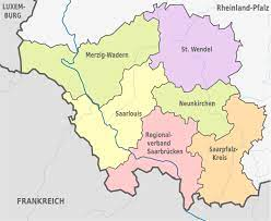 The saarland is a small federal state of germany, located in the west of the country and forming part of the german border with france and luxemburg. Fichier Saarland Administrative Divisions De Colored Svg Wikipedia