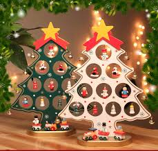DIY Mini Wooden Christmas Tree With 15 Small Ornament Snowman Bell ...