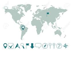 World Map With Various Icons Easy Editable Royalty Free Cliparts