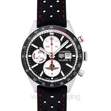 tag heuer tag heuer carrera calibre 16 leather strap watch image 1