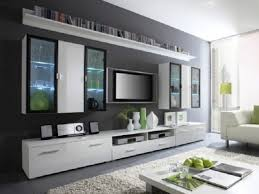 wall cabinets living room furniture. Alluring Tv Walls And Living Room Furniture Design With Black Stunning Flat On The Gray Wall Cabinets