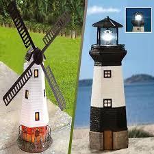 solar traditional outdoor garden lighting ornament windmill rotating lighthouse