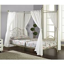 Shop Pewter Full-size Canopy Bed with Curtains - Free Shipping Today ...