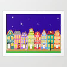Cute Night Town Cartoon Houses Art Print By Wittybetty