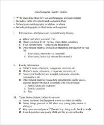 Outline For Writing A Biography Autobiography Outline Template 8 Free Sample Example