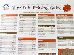 Yard Sale Pricing Chart Printable Yard Sale Pricing Guide Yard Sale Signs Garage