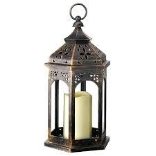outdoor battery operated candle lantern bronze lanterns led decorative wood ed black