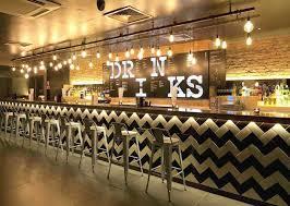 Chevron Backsplash | Subway Tile | Commercial Design | Bar Ideas | Stool  Seating | Restaurant