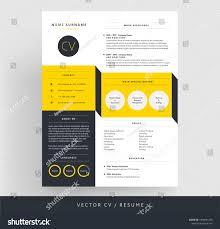 Creative Cv Resume Template Yellow Black Stock Vector Royalty Free