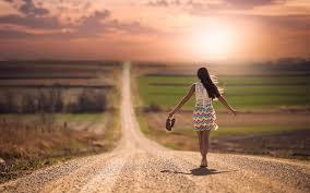 lonely walking on road wallpaper