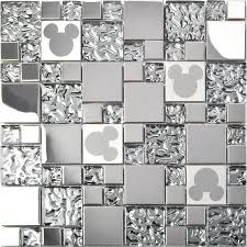 tst stainless steel mickey mouse tiles mirrored glass water drops metal tile backsplash decor tstmgb027  on mickey mouse metal wall art with mickey mouse tiles for bathroom my web value