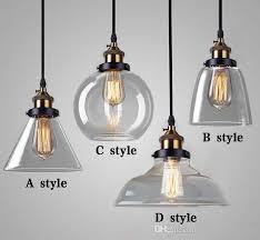 loft vintage single glass pendant lights led hanging light restaurant lighting e27 lamps industrial lighting fixture amber and transpa large pendant