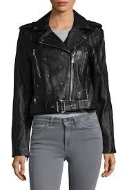 sam edelman studded leather moto jacket in black edgy leather jacket with bold stud