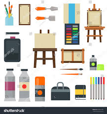 creative furniture icons set flat design. Painting Art Tools Palette Icon Set Flat Vector Illustration Details Stationery Creative Paint Equipment. Furniture Icons Design A