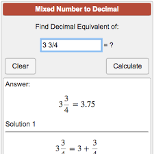 fractions in decimal form mixed number to decimal calculator