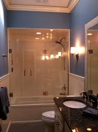 chic frameless shower door in bathroom traditional with frameless shower next to glass tub doors alongside glass door bathtub and tub shower door