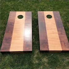 Wooden Corn Hole Game Two Toned Wood Stained Corn Hole Boards Light Dark Contrast 41