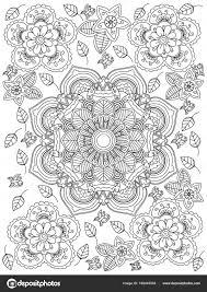 Fiore Di Mandala Da Colorare Raster Per Adulti Foto Stock