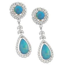 edwardian style 6 00ct cabochon round pear shape opal 1 15ct round diamond chandelier 18k