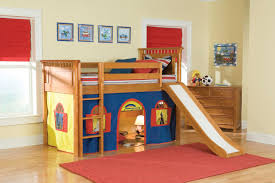 Image of Loft Bed with Slide and Tent indoor