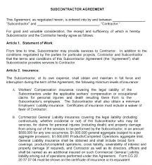 Subcontractor Contract Template Classy Subcontractor Agreement Template Doc Trejosco