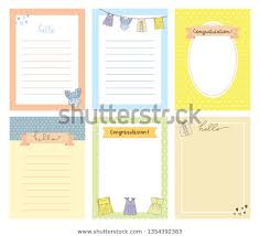 Baby Card Notes Baby Born Celebration Card Notes Template Stock Vector