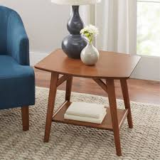 better homes gardens reed mid century modern side table pecan com