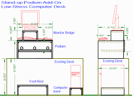 standup computer desk as podium addition to an existing desk sketcyh 1